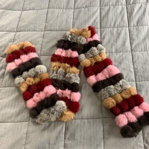 Cejon Accessories Pom Pom Rabbit Fur Scarf